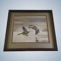 Robert E Krieg SAA (1948-2012), Mallard Ducks Gouache Watercolor Painting Signed by Wildlife Artist