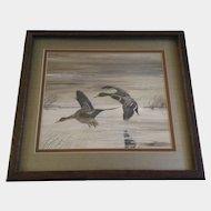Robert E Krieg SAA (1948-2012), Mallard Ducks in Flight, Gouache Watercolor Painting, Signed by Wildlife Artist