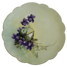 Hand Painted Violet Flowers Luncheon Plate Signed