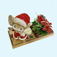 Christmas Santa Mouse on a Trap with Poinsettia Flowers Decoration