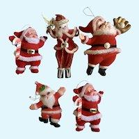 Five Vintage Santa Claus Christmas Ornaments Pipe Cleaner Plastic
