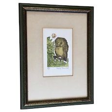 Nancy Nemec, Artist Proof Owl Colored Etching A/P Listed Artist Intaglio Print