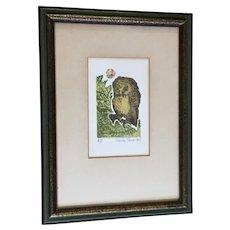 Nancy Nemec, Artist Proof Witty  Owl Etching A/P Listed Artist Intaglio Print