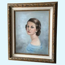 E. Metzker Mid-Century Portrait of a Woman Figural Oil Painting