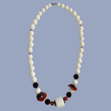 Red White and Blue Plastic Beaded Necklace