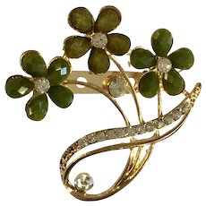 3 Flower Green Faux Diamond Rhinestone Gold-tone Brooch Pin