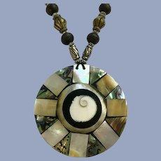 Abalone Shell Large Pendant Necklace