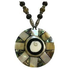 Abalone Shell Large Pendant Necklace