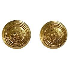 Vintage Liz Claiborne Gold Tone Crown Shield Round Pierced Earrings