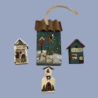 Miniature Birdhouse Figurines Hand Painted Folk Art