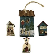 Miniature Birdhouse Figurines Hand Painted Folk Art