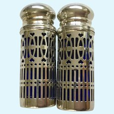 Godinger Salt and Pepper Shakers Cobalt Blue Glass and Silver Plate