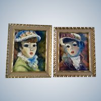 Pilar Schmitter, Victorian Parisian Ladies Oil Painting Signed by Artist