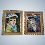 Pilar Schmitter, Victorian Parisian Ladies in Flower Bonnets, Figural Oil Painting on Canvas Signed by Artist