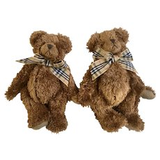 Vintage Soft Articulating Christmas Teddy Bears Small