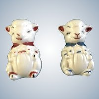 Lamb Salt & Pepper Shakers Adorable Apco Ceramic Pottery Vintage Figurines