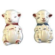 Adorable Apco Lamb Salt & Pepper Shakers Ceramic Pottery Vintage Figurines