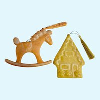 1960's Star Band Ornaments Sugar Glitter Rocking Horse and Gingerbread House