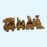Wooden Choo Choo Train Christmas Decoration Santa, Bear and Reindeer