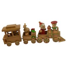 Wooden Choo Choo Train Christmas Decoration Santa, Bear and Reindeer
