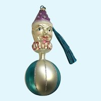 Vintage Clown Head Ball Hand Blown Glass Ornament Germany