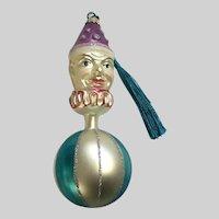 Vintage Kurt Adler Clown Head Ball Hand Blown Glass Ornament Germany