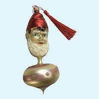 Vintage Elf Head Ball Hand Blown Glass Ornament Germany