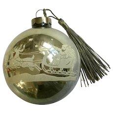 Vintage Mercury Glass Ball Ornament Santas Flying Sleigh