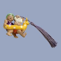 Santa and Mrs. Claus in Reindeer Float Ornament Hallmark Cards