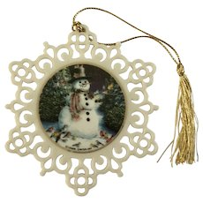 Lenox Snowman Pierced Snowflake Ornament
