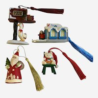 Vintage Christmas Tree Ornaments 4 Piece Lot