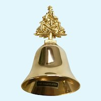 18kt Gold Plated Hand Bell Christmas Tree Handle USA