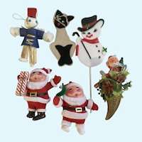 Vintage Christmas Santa Snowman Holiday Decorations