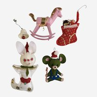 Cute Little Christmas Mid-Century Ornaments 5 Pieces