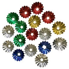 Vintage Christmas Light Foil Reflectors Multi-Colored Flowers 17 Pc
