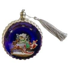 Vintage Mercury Glass Diorama Santa Sleigh Large Ball Ornament Italy