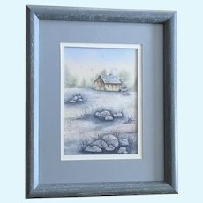 Small Blue Landscape Watercolor Painting Signed
