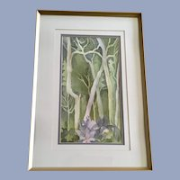 V. Bly, Forest Columbine Flowers Landscape Watercolor Painting