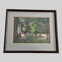 Stan (Stanley) Awbrey, Flower Garden Pastel Painting