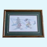 Susan (Sue) A. Rupp, Split Hares, Anthropomorphic Bunnies Skiing Print