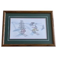 Susan (Sue) A. Rupp, Split Hares, Anthropomorphic Bunnies Skiing Print