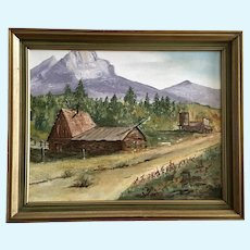 H Skeins, Colorado Ghost Town Tin Cup Pass Oil Painting 1973