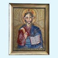 Joel Martone, Jesus or Saint Icon Portrait Mixed Media Painting