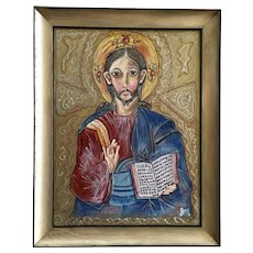 Joel Martone, Jesus or Saint Icon Portrait Mixed Media Painting
