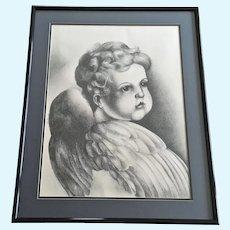 Cupid Angel Boy Portrait Graphite Painting