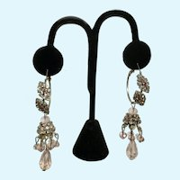 Dangle Pink Sparkle Silver-tone Pierced Loop Earrings