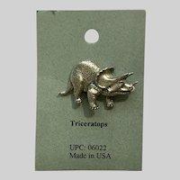 Triceratops Dinosaur American Pewter Works 1986 Lapel Pins