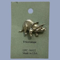 Triceratops Dinosaur American Pewter Works 1986 Lapel Pins