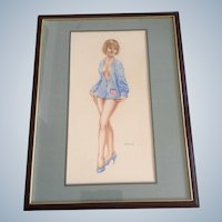 Hal Small, Nude Pinup Girl Oil Painting Signed by Artist