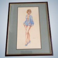 Hal Small, Vintage Nude Pinup Girl in Blue Sweater, Oil Painting on Art Board, Signed by Artist